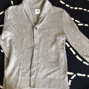 Men's full button sweater with shawl neck